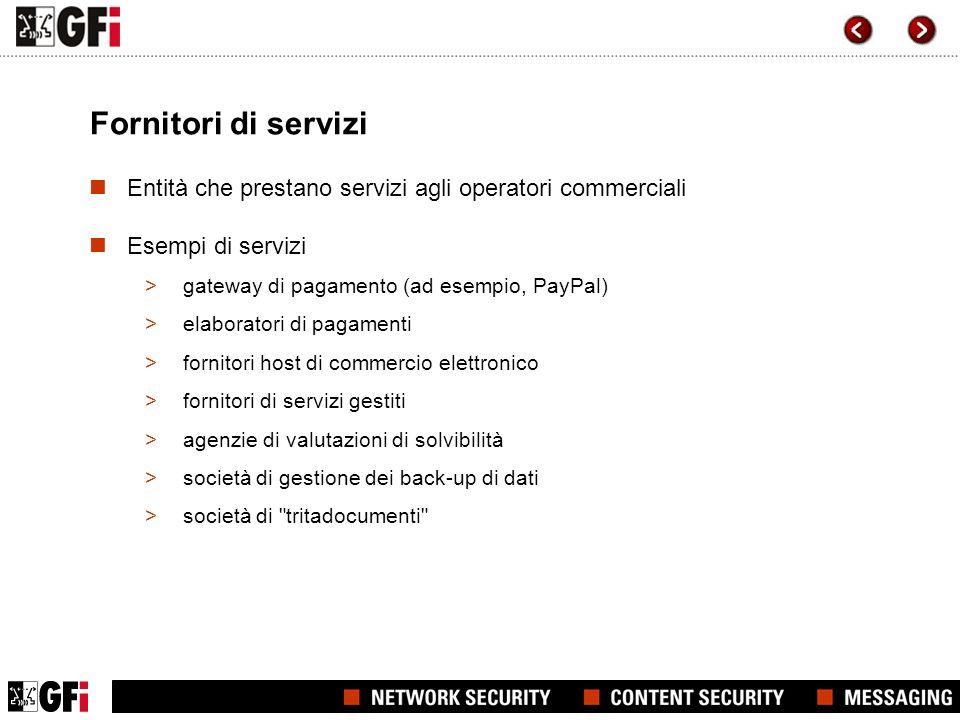 Fornitori di servizi Entità che prestano servizi agli operatori commerciali. Esempi di servizi. gateway di pagamento (ad esempio, PayPal)