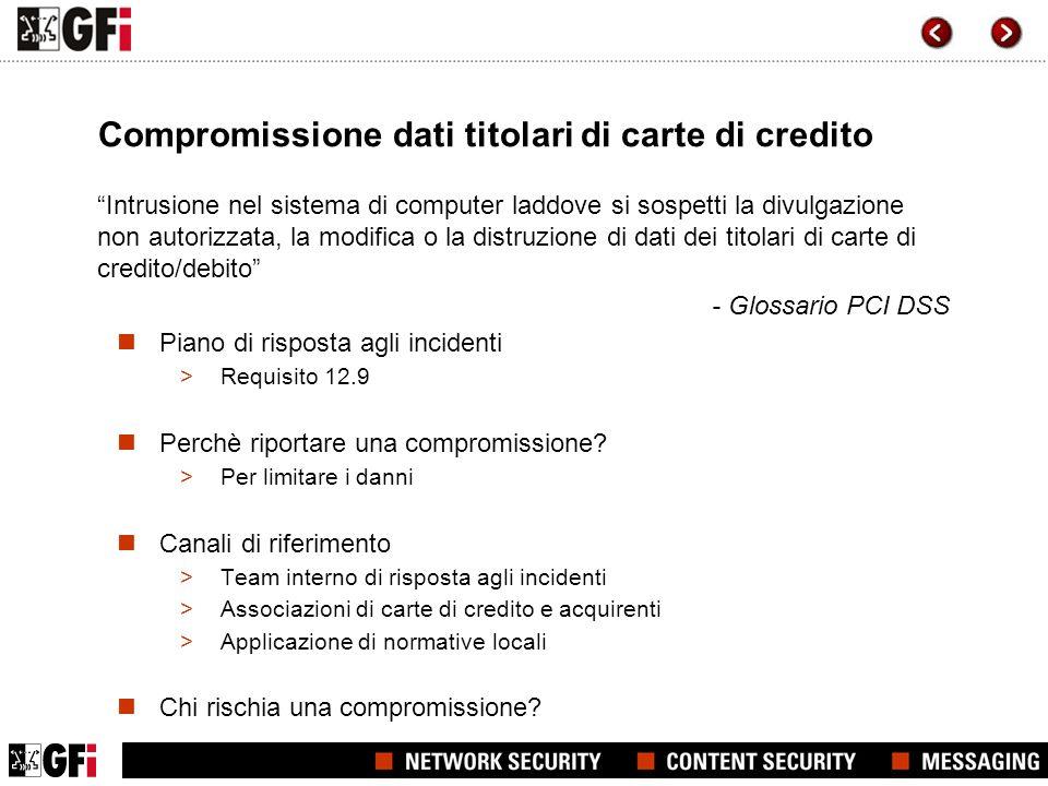 Compromissione dati titolari di carte di credito