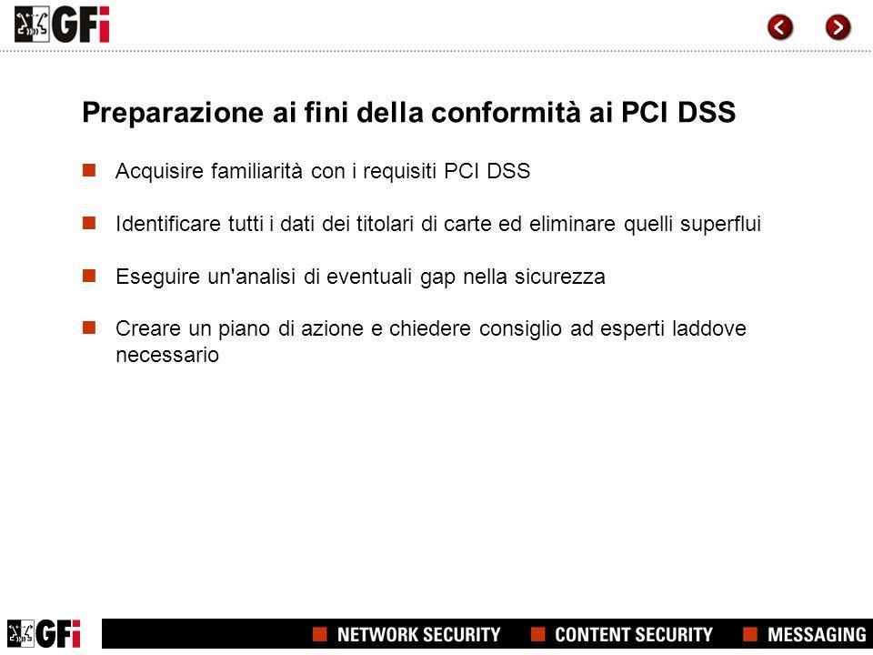 Preparazione ai fini della conformità ai PCI DSS
