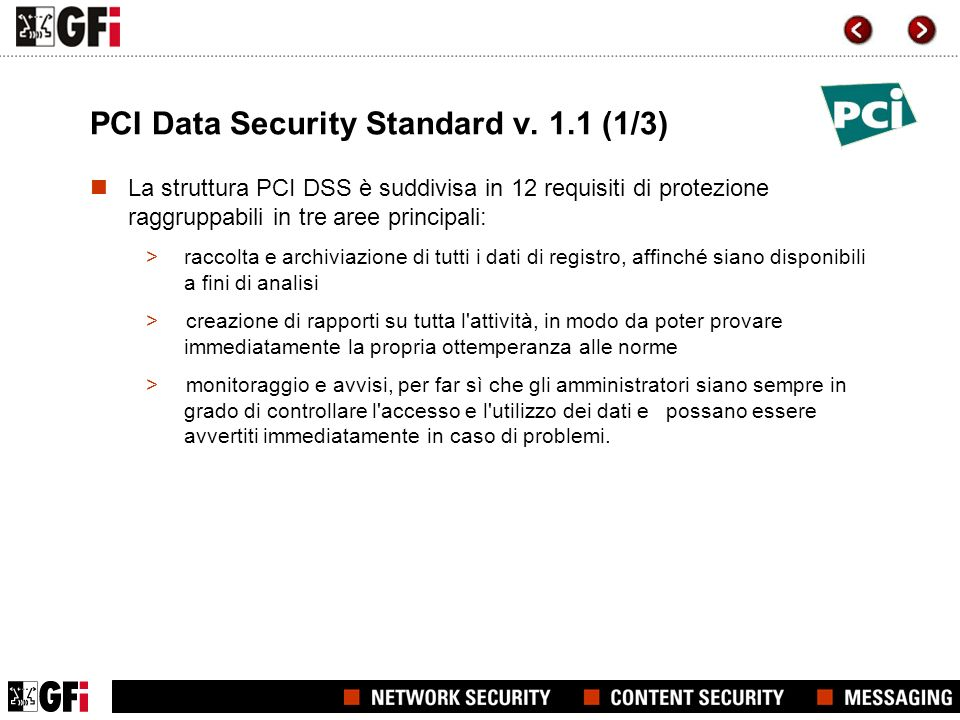 PCI Data Security Standard v. 1.1 (1/3)