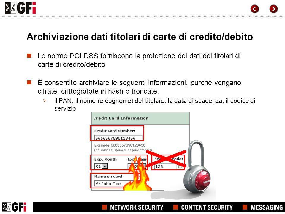 Archiviazione dati titolari di carte di credito/debito