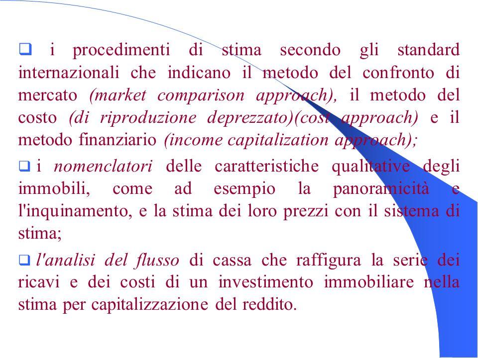 i procedimenti di stima secondo gli standard internazionali che indicano il metodo del confronto di mercato (market comparison approach), il metodo del costo (di riproduzione deprezzato)(cost approach) e il metodo finanziario (income capitalization approach);