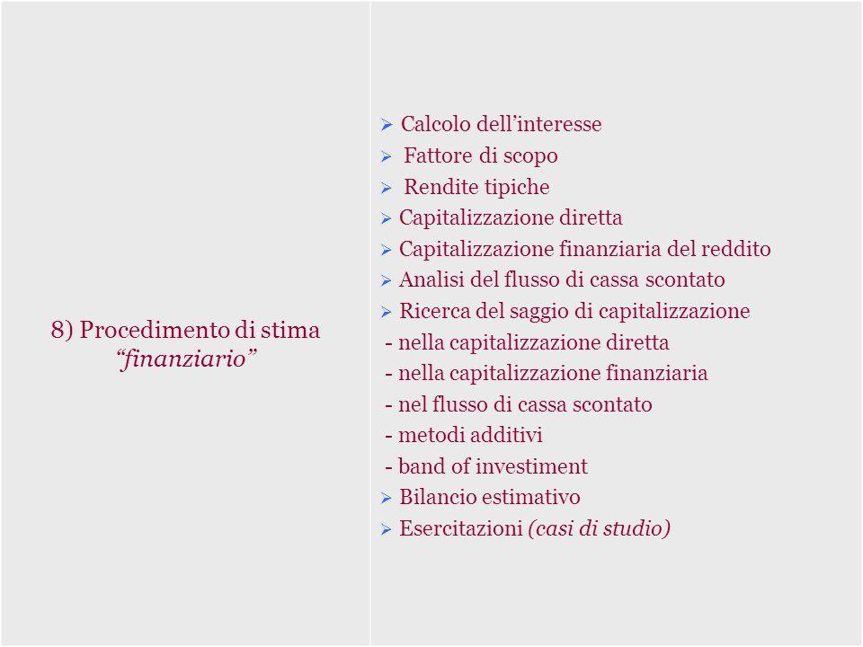 8) Procedimento di stima finanziario