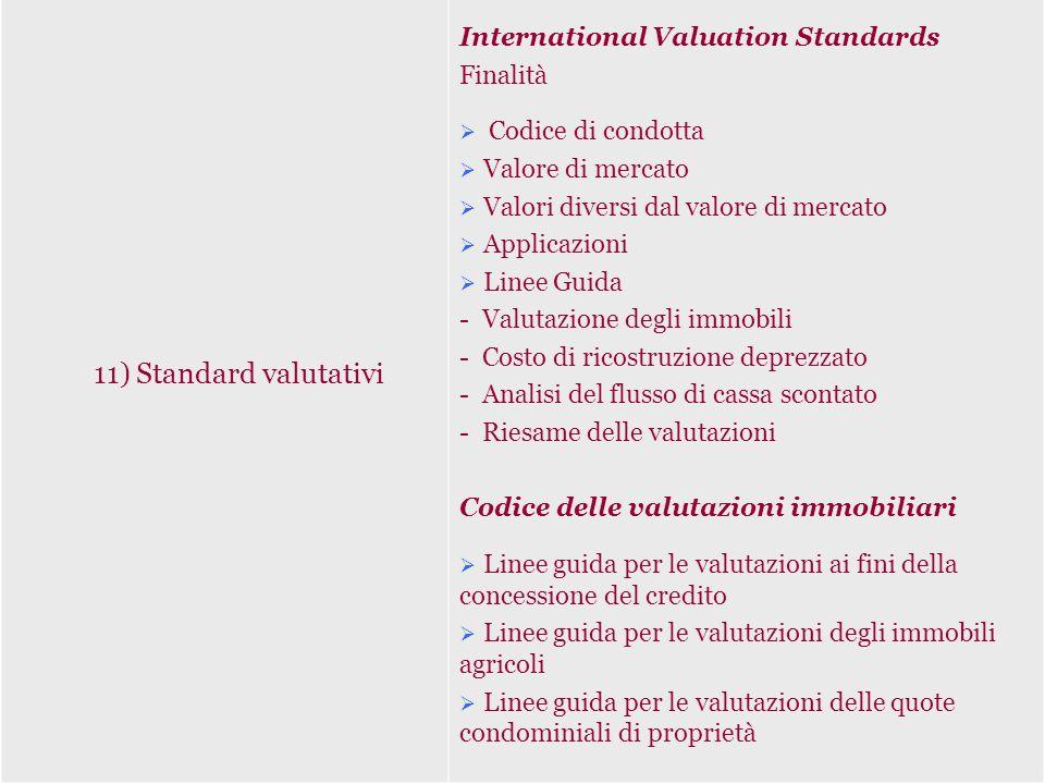 11) Standard valutativi International Valuation Standards Finalità