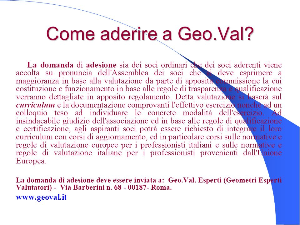 Come aderire a Geo.Val www.geoval.it