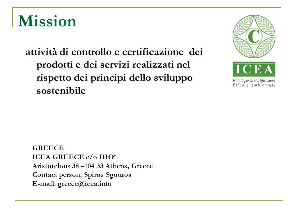 Mission attività di controllo e certificazione dei prodotti e dei servizi realizzati nel rispetto dei principi dello sviluppo sostenibile.