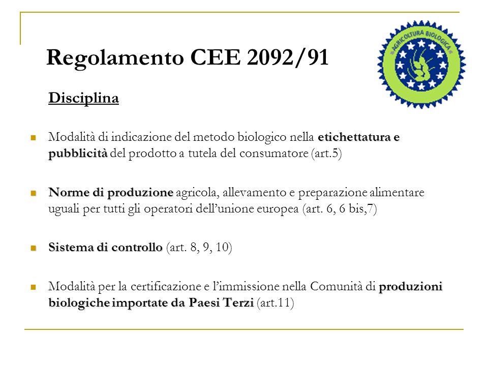 Regolamento CEE 2092/91 Disciplina.