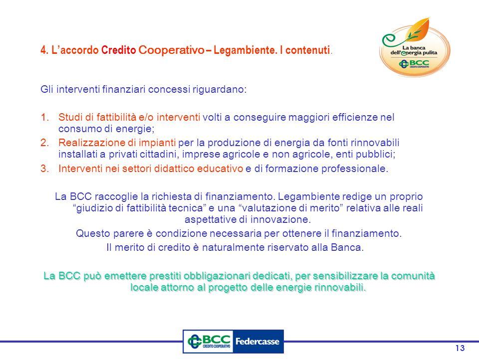 4. L'accordo Credito Cooperativo – Legambiente. I contenuti.