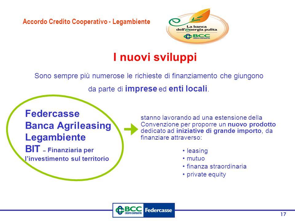 I nuovi sviluppi Federcasse Banca Agrileasing Legambiente
