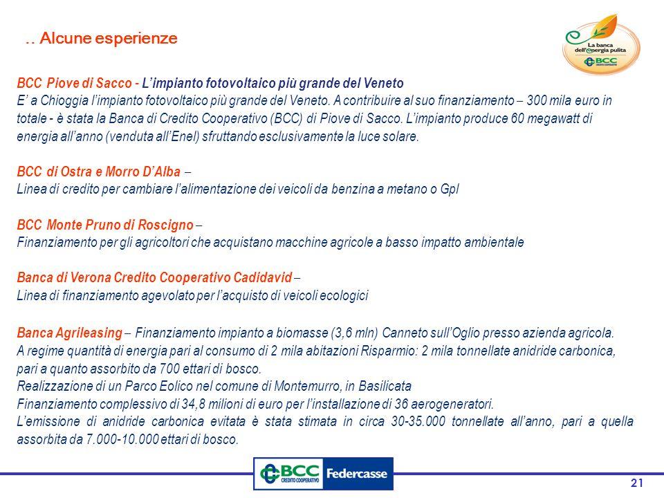 .. Alcune esperienze BCC Piove di Sacco - L'impianto fotovoltaico più grande del Veneto.