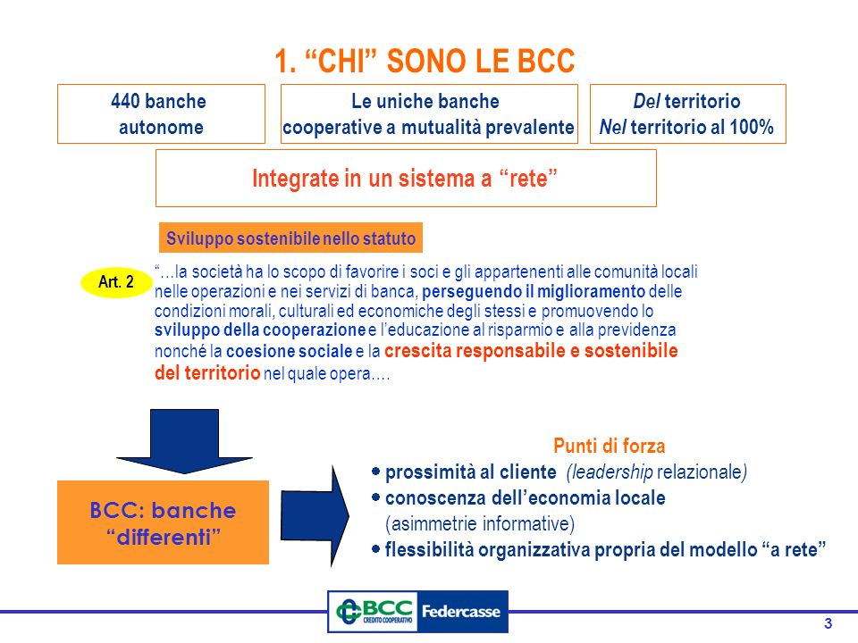 1. CHI SONO LE BCC Integrate in un sistema a rete