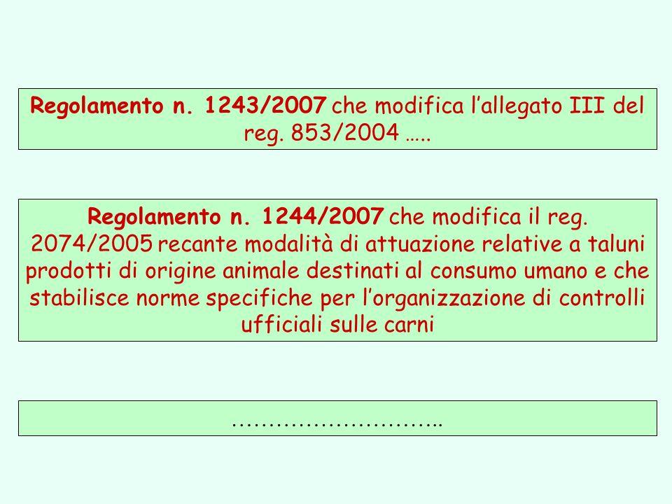 Regolamento n. 1243/2007 che modifica l'allegato III del reg