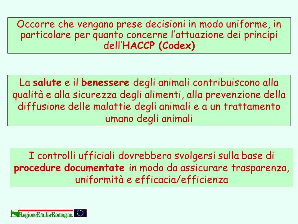 Occorre che vengano prese decisioni in modo uniforme, in particolare per quanto concerne l'attuazione dei principi dell'HACCP (Codex)