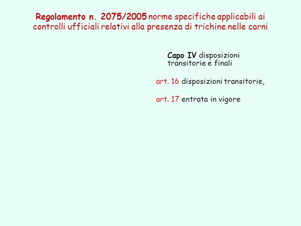 Capo IV disposizioni transitorie e finali