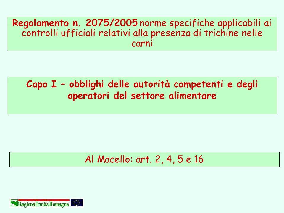 Regolamento n. 2075/2005 norme specifiche applicabili ai controlli ufficiali relativi alla presenza di trichine nelle carni