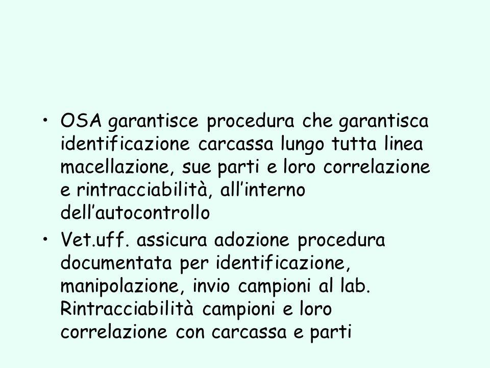 OSA garantisce procedura che garantisca identificazione carcassa lungo tutta linea macellazione, sue parti e loro correlazione e rintracciabilità, all'interno dell'autocontrollo