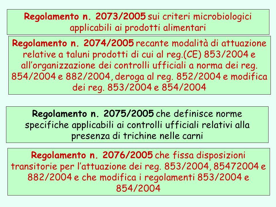Regolamento n. 2073/2005 sui criteri microbiologici applicabili ai prodotti alimentari