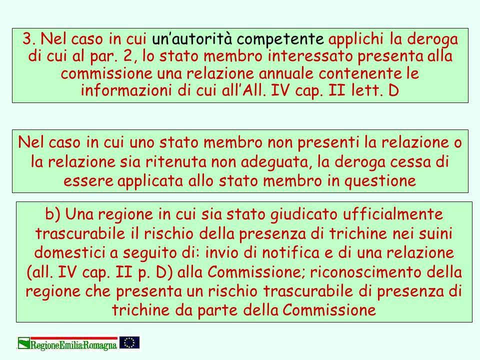 3. Nel caso in cui un'autorità competente applichi la deroga di cui al par. 2, lo stato membro interessato presenta alla commissione una relazione annuale contenente le informazioni di cui all'All. IV cap. II lett. D