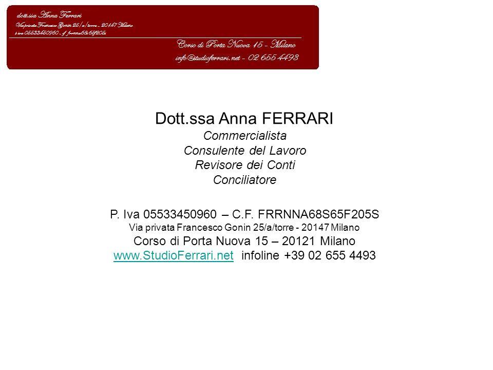 Dott.ssa Anna FERRARI Commercialista Consulente del Lavoro