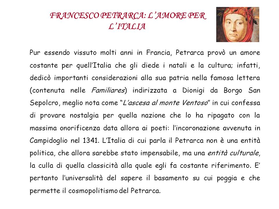FRANCESCO PETRARCA: L'AMORE PER L'ITALIA
