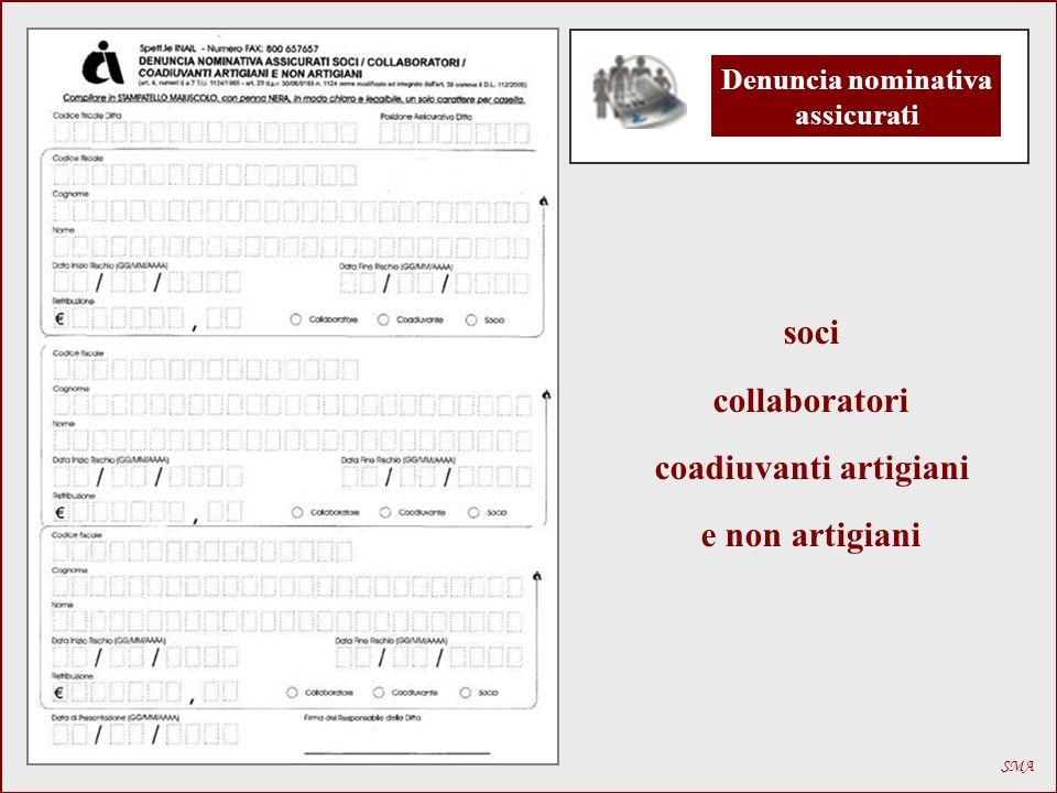 Denuncia nominativa assicurati coadiuvanti artigiani