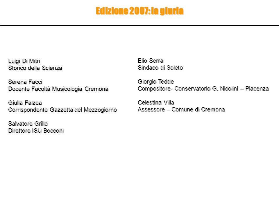 Edizione 2007: la giuria Luigi Di Mitri Elio Serra