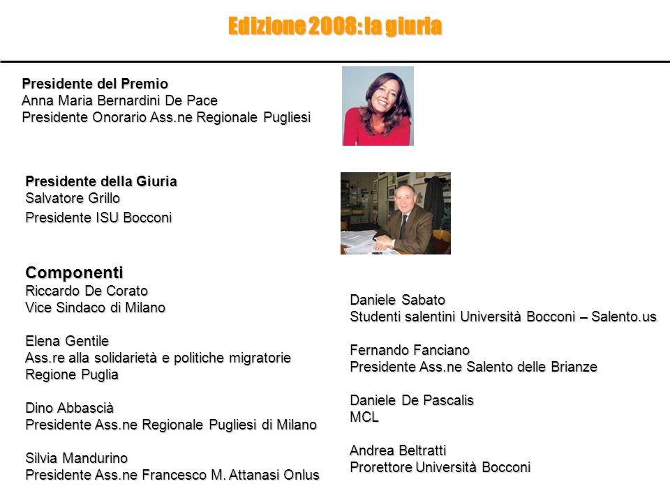 Edizione 2008: la giuria Componenti Presidente del Premio