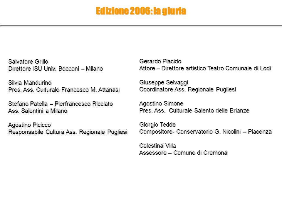 Edizione 2006: la giuria Salvatore Grillo Gerardo Placido