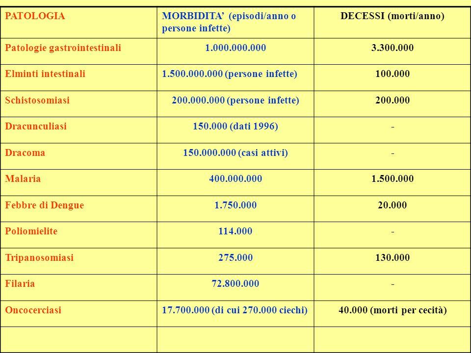PATOLOGIA MORBIDITA' (episodi/anno o persone infette) DECESSI (morti/anno) Patologie gastrointestinali.