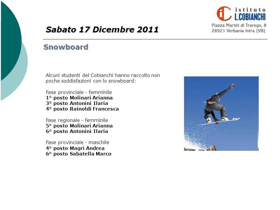 Sabato 17 Dicembre 2011 Snowboard