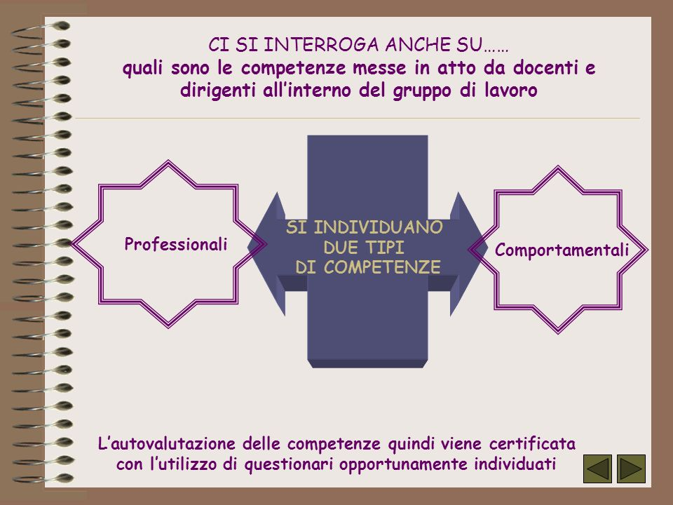 CI SI INTERROGA ANCHE SU…… quali sono le competenze messe in atto da docenti e dirigenti all'interno del gruppo di lavoro
