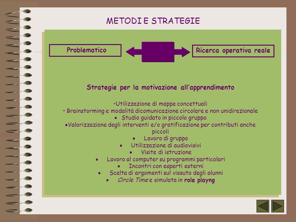 Ricerca operativa reale Strategie per la motivazione all'apprendimento