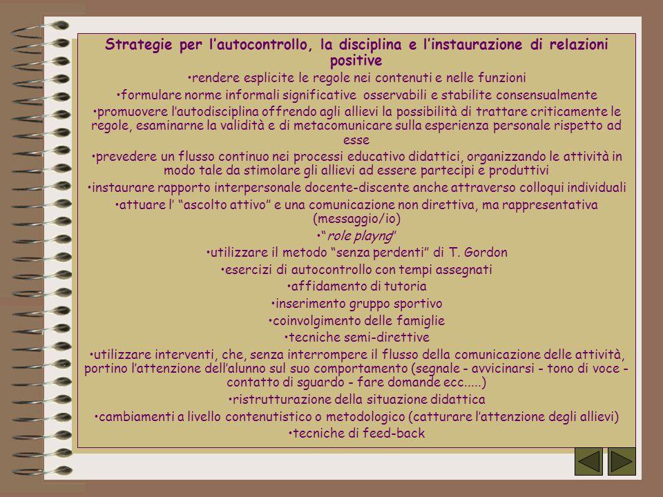 Strategie per l'autocontrollo, la disciplina e l'instaurazione di relazioni positive