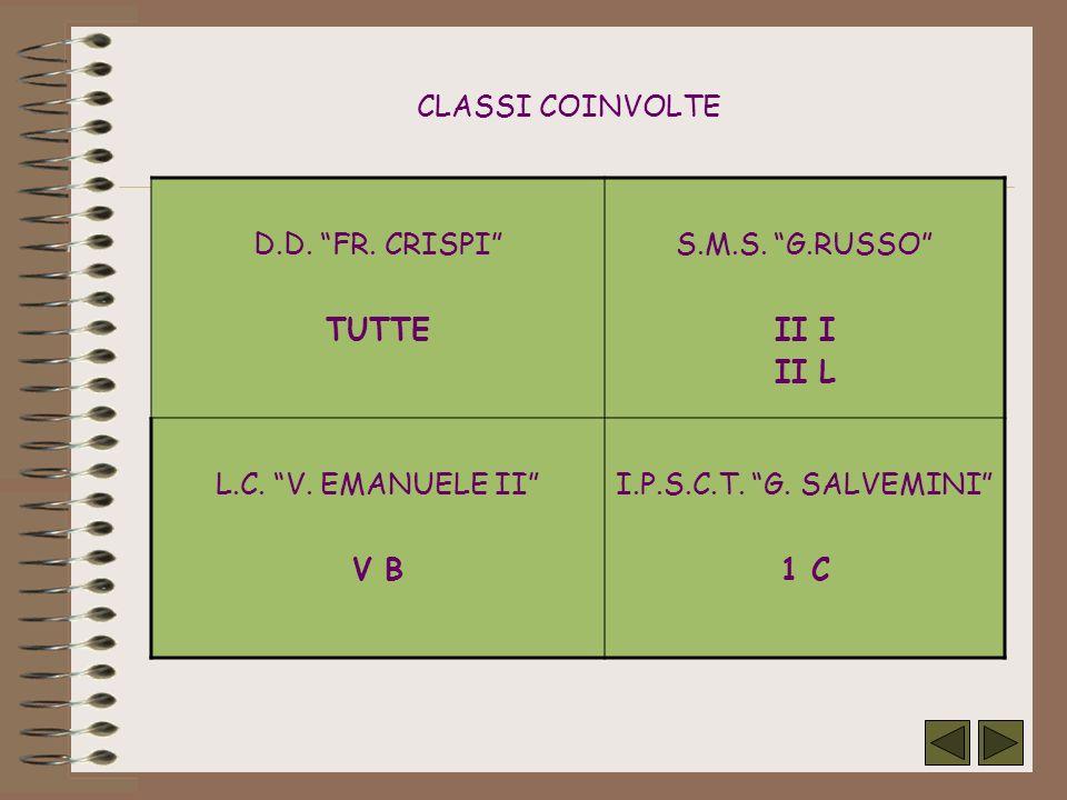 CLASSI COINVOLTE D.D. FR. CRISPI TUTTE S.M.S. G.RUSSO II I II L