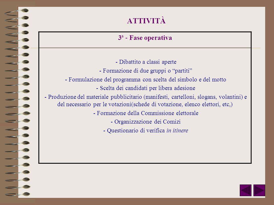 ATTIVITÀ 3ª - Fase operativa - Dibattito a classi aperte