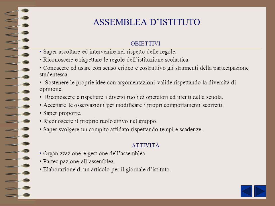 ASSEMBLEA D'ISTITUTO OBIETTIVI