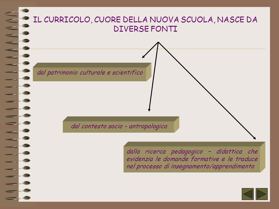 IL CURRICOLO, CUORE DELLA NUOVA SCUOLA, NASCE DA DIVERSE FONTI