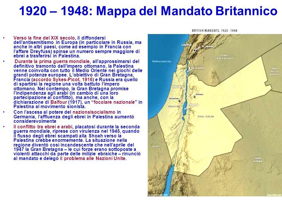 1920 – 1948: Mappa del Mandato Britannico