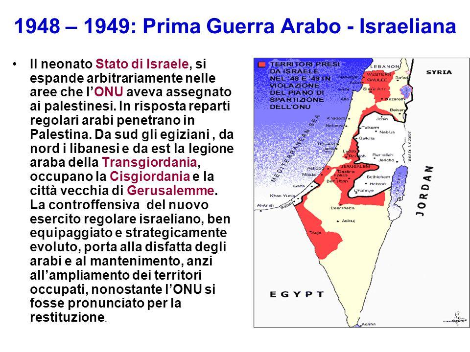 1948 – 1949: Prima Guerra Arabo - Israeliana