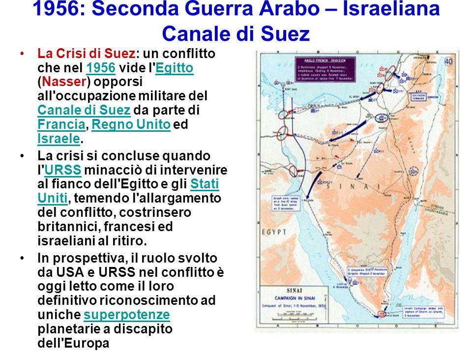 1956: Seconda Guerra Arabo – Israeliana Canale di Suez