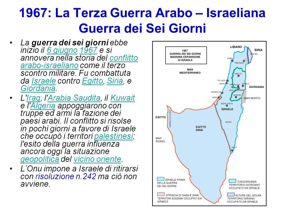 1967: La Terza Guerra Arabo – Israeliana Guerra dei Sei Giorni