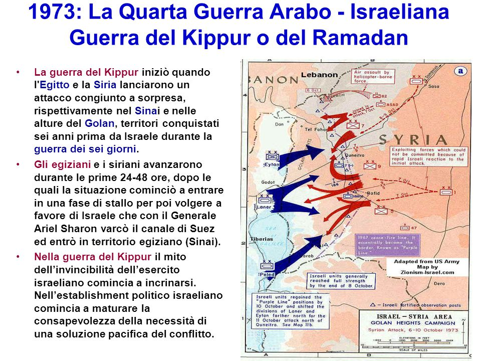 1973: La Quarta Guerra Arabo - Israeliana Guerra del Kippur o del Ramadan