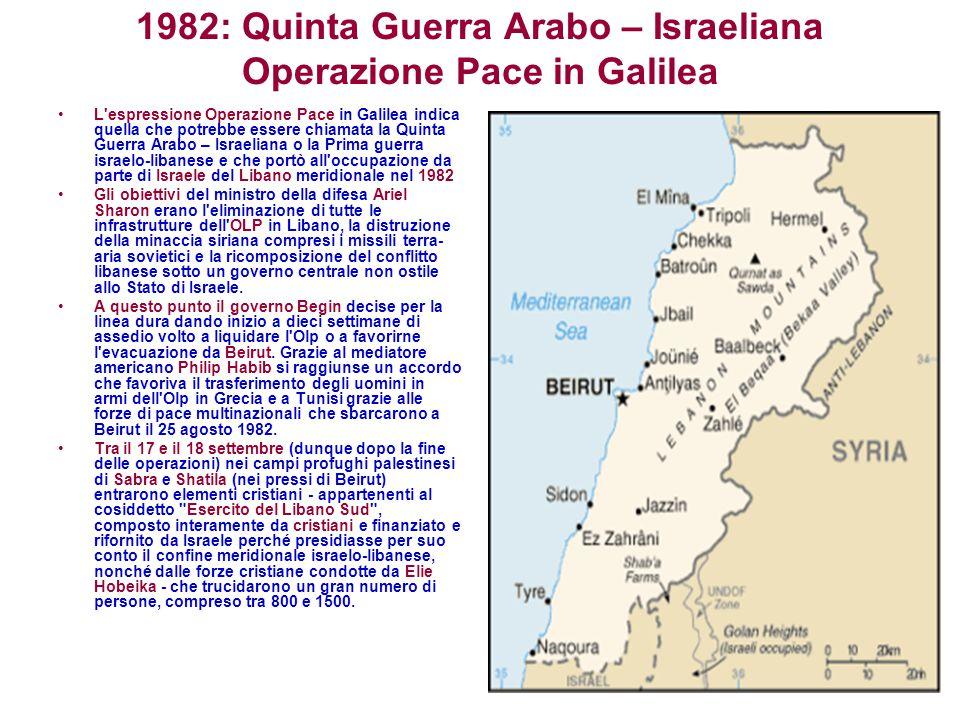 1982: Quinta Guerra Arabo – Israeliana Operazione Pace in Galilea