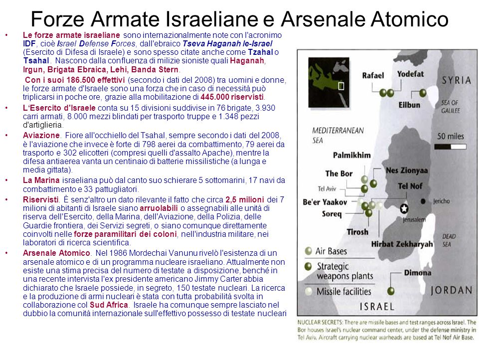 Forze Armate Israeliane e Arsenale Atomico