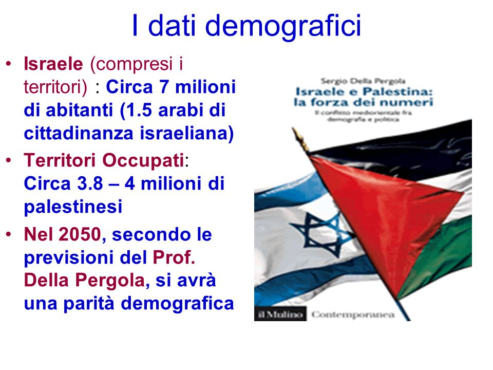 I dati demografici Israele (compresi i territori) : Circa 7 milioni di abitanti (1.5 arabi di cittadinanza israeliana)