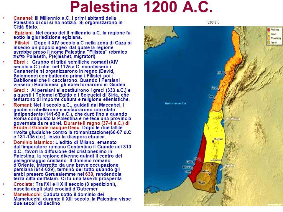 Palestina 1200 A.C. Cananei: III Millennio a.C. I primi abitanti della Palestina di cui si ha notizia. Si organizzarono in Città Stato.
