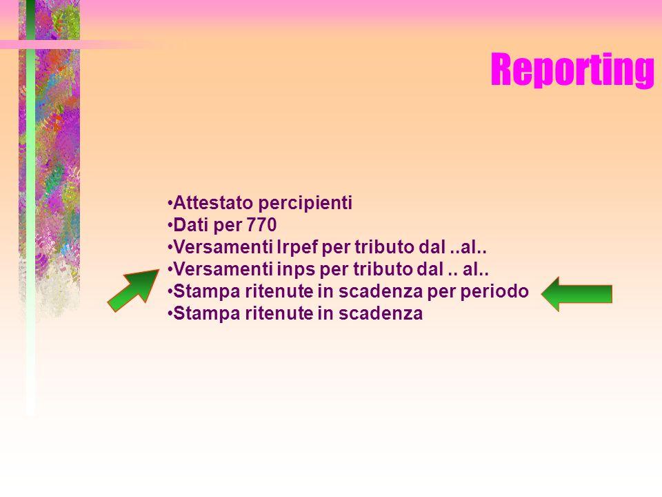 Reporting Attestato percipienti Dati per 770