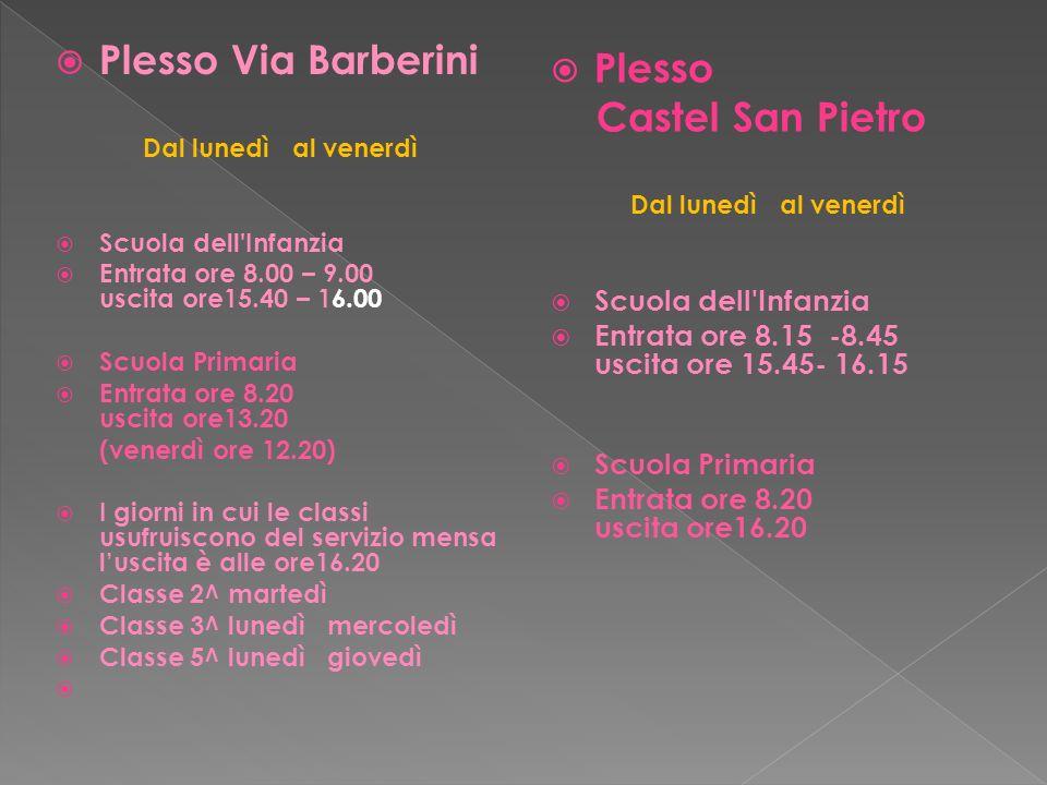 Plesso Via Barberini Plesso Castel San Pietro Scuola dell Infanzia