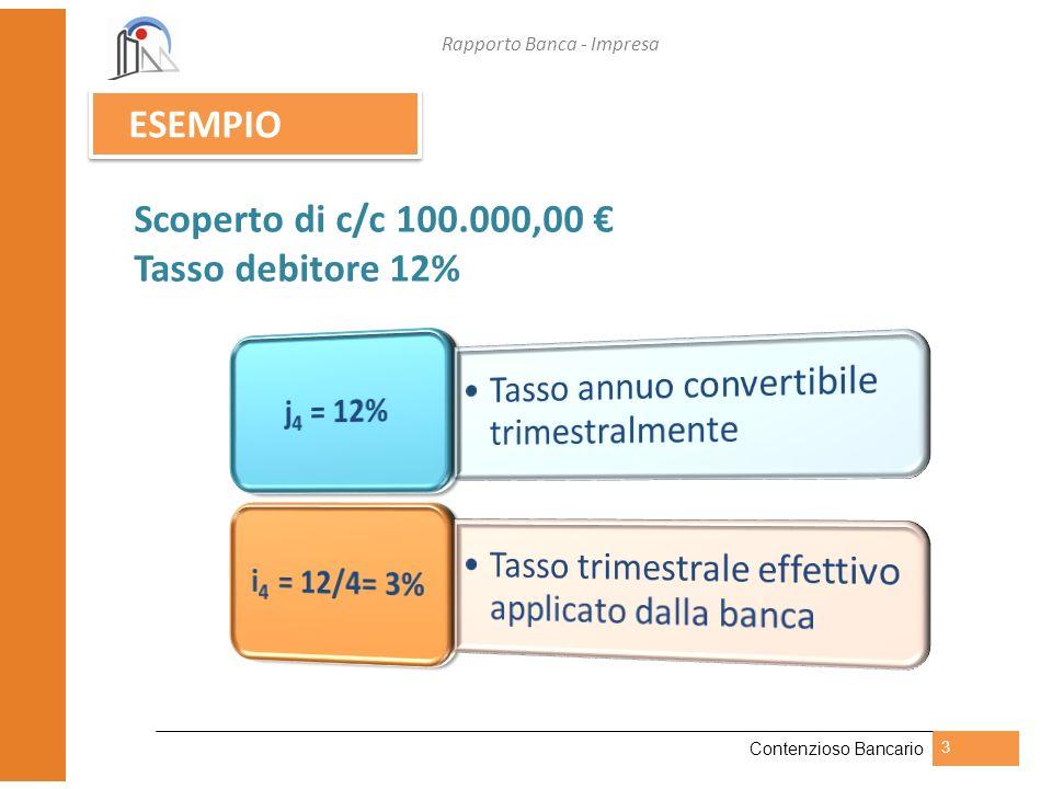 Scoperto di c/c 100.000,00 € Tasso debitore 12%