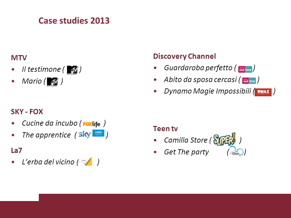 Case studies 2013 Discovery Channel MTV Guardaroba perfetto ( )
